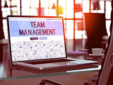 Team Management Concept on Laptop Screen.