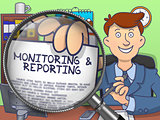 Monitoring & Reporting through Lens. Doodle Concept.