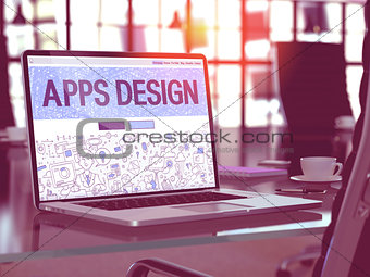 Apps Design - Concept on Laptop Screen.