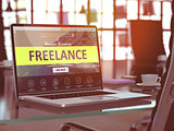 Freelance Concept on Laptop Screen.
