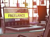 Freelance Concept on Laptop Screen.