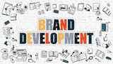 Brand Development in Multicolor. Doodle Design.