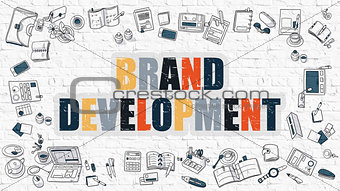 Brand Development in Multicolor. Doodle Design.