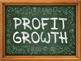 Green Chalkboard with Hand Drawn Profit Growth.