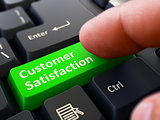 Customer Satisfaction - Written on Green Keyboard Key.