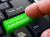 Customer Satisfaction - Written on Green Keyboard Key.