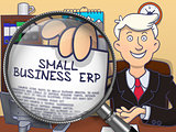 Small Business Erp through Lens. Doodle Design.