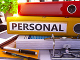 Personal on Yellow Ring Binder. Blurred, Toned Image.