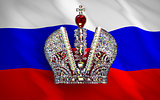 Big Imperial Crown Over Russian Flag