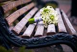 Beautiful wedding flowers bouquet on the dark wooden background
