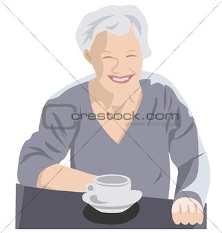 Grey senior drinking coffee