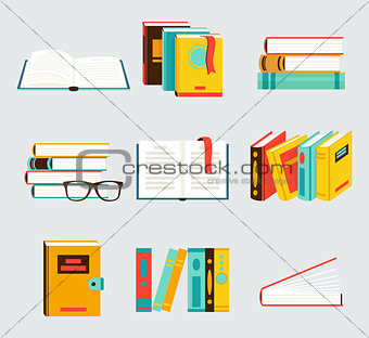 A set of books flat style