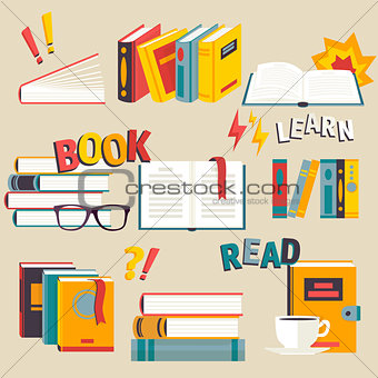 A set of books flat style