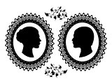 Profiles of man and woman in ornate frame. Black silhouette of a couple isolated on white background