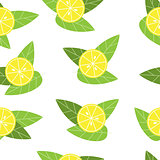 Seamless vector lemon pattern on white background