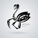 Vector image of a praying mantis style tribal tattoo.