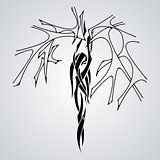 Vector silhouette wood nymphs. Girl tree.