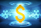 Dollar sign on blue
