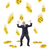 Dollar sign falling on businessman