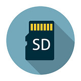 Micro sd card icon flat
