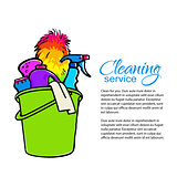 Bucket with cleaning cleaners. Cleaning services.