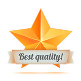 Golden 3d star with a ribbon. Best quality. The best reward