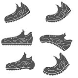 Set of Gray Sport Shoe Icons