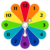 Colored clocks with arrows