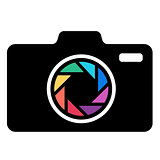 Camera icon with colorful lens.