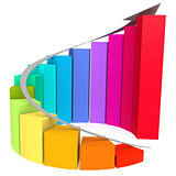 Colorful winding bar chart with white arrow