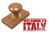 Red rubber stamp with welcome to Italy