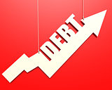 White arrow with debt word hang on red background