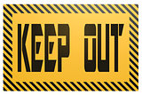 Banner with keep out word