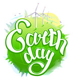 Earth Day. Green Earth and wind energy. Earth Day lettering text