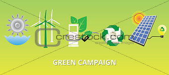green campaign concept with new energy alternatives solar panel vector
