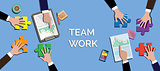 team work concept together use puzzle or jigsaw vector