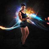Energy of muscular woman