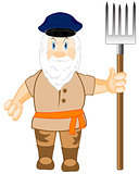 Man workman with pitchfork