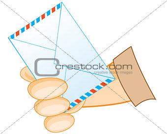 Postal envelope in hand