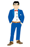 Man in turn blue suit
