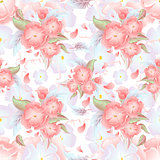Seamless floral background. Pink flowers on seamless background