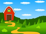 farm on the forest background