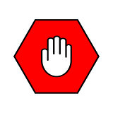 Stop sign. Open palm in red octagon