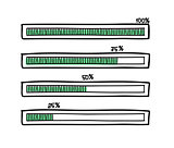 Set of hand-drawn vector doodle progress bars