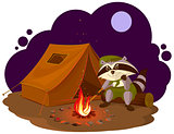 Summer holiday camp. Scout raccoon sitting around campfire. Raccoon tourist tent set. Camping