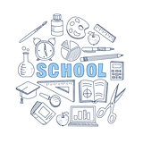 School Hand Drawn Set. Vector Illustration