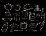 Kitchen Utensils on a Chalkboard Background, Vector Set