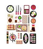 Restaurant Asian Cuisine. Vector Flat Illustration