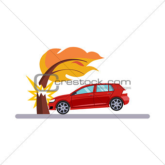 Car and Transportation Issue with a Tree. Vector Illustration