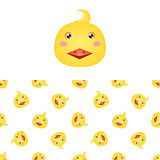 Chicken Head Icon And Pattern